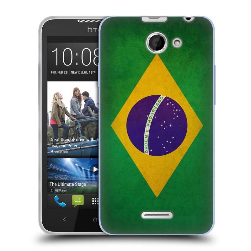 Silikonové pouzdro na mobil HTC Desire 516 HEAD CASE VLAJKA BRAZÍLIE (Silikonový kryt či obal na mobilní telefon HTC Desire 516 Dual SIM)
