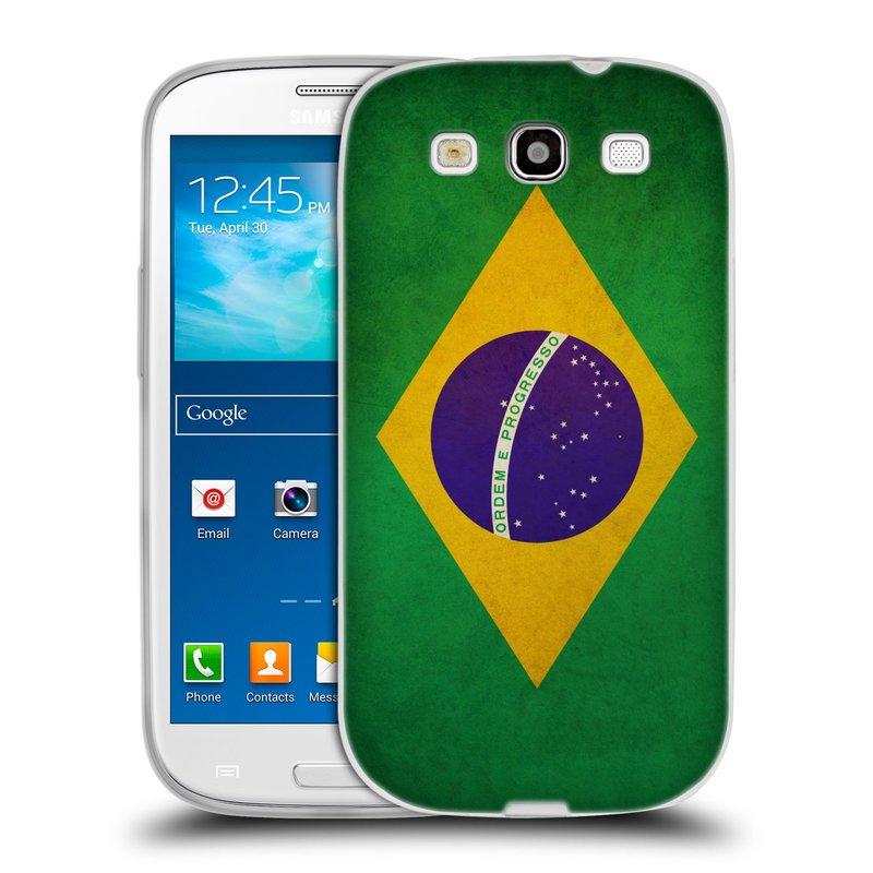 Silikonové pouzdro na mobil Samsung Galaxy S III HEAD CASE VLAJKA BRAZÍLIE (Silikonový kryt či obal na mobilní telefon Samsung Galaxy S III GT-i9300)