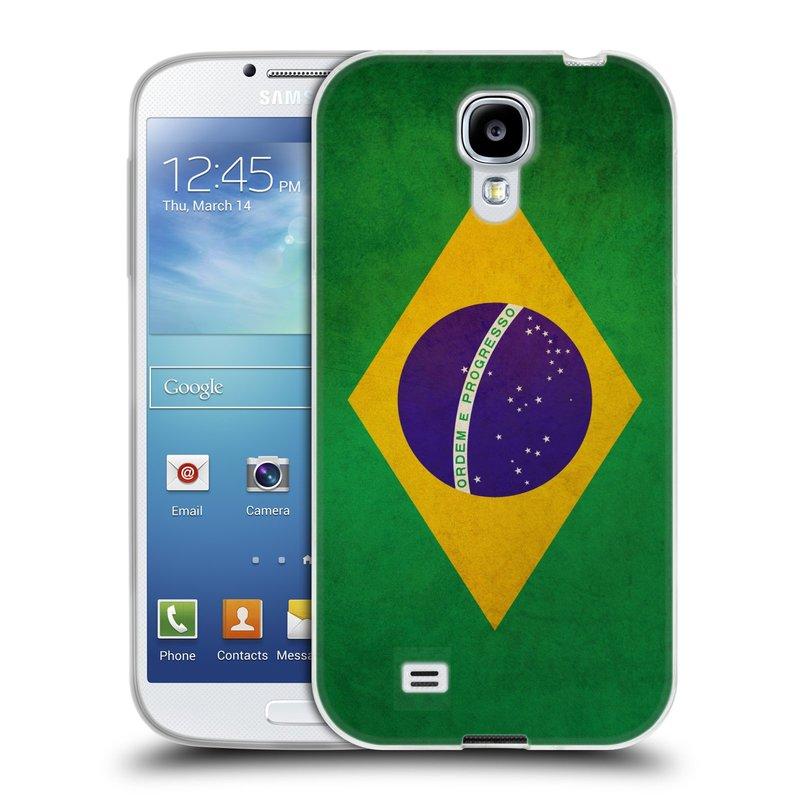 Silikonové pouzdro na mobil Samsung Galaxy S4 HEAD CASE VLAJKA BRAZÍLIE (Silikonový kryt či obal na mobilní telefon Samsung Galaxy S4 GT-i9505 / i9500)