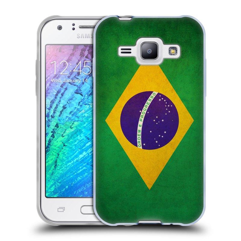Silikonové pouzdro na mobil Samsung Galaxy J1 HEAD CASE VLAJKA BRAZÍLIE (Silikonový kryt či obal na mobilní telefon Samsung Galaxy J1 a J1 Duos)