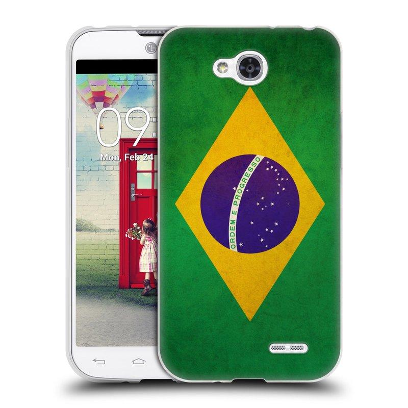 Silikonové pouzdro na mobil LG L90 HEAD CASE VLAJKA BRAZÍLIE (Silikonový kryt či obal na mobilní telefon LG L90 D405n)