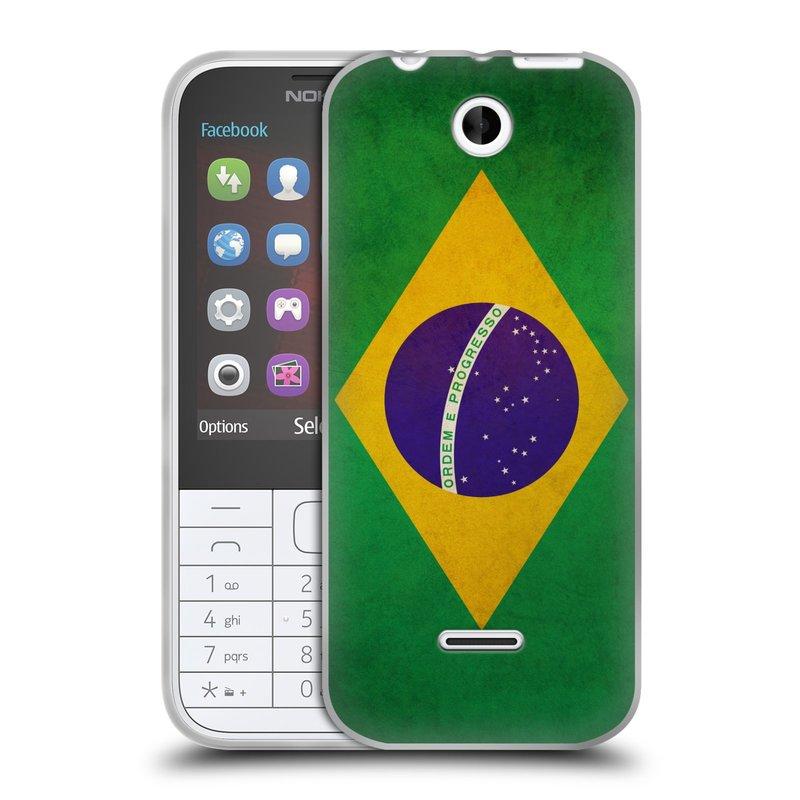 Silikonové pouzdro na mobil Nokia 225 HEAD CASE VLAJKA BRAZÍLIE (Silikonový kryt či obal na mobilní telefon Nokia 225)