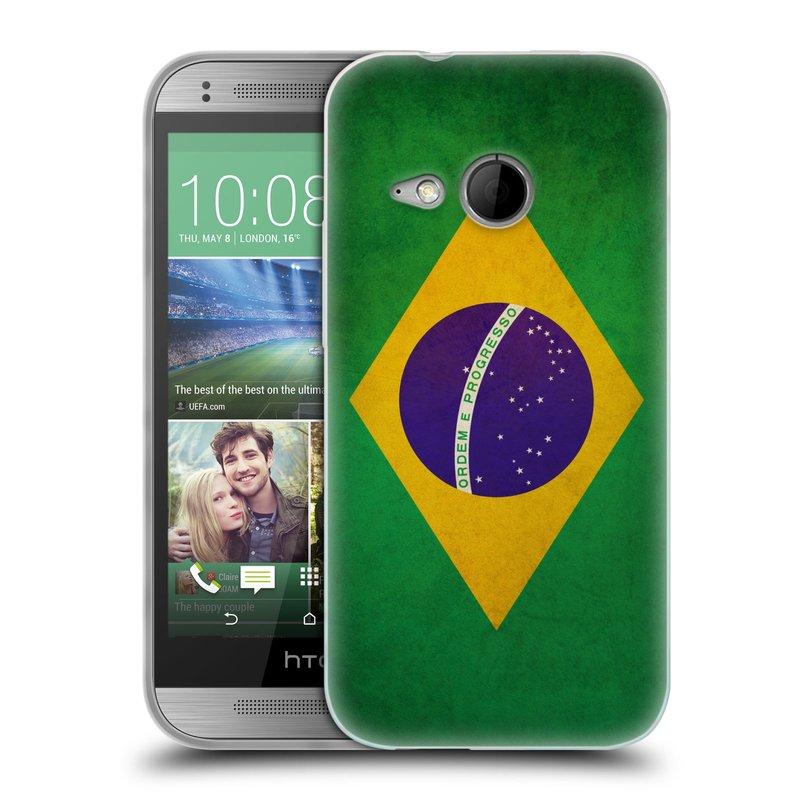 Silikonové pouzdro na mobil HTC ONE Mini 2 HEAD CASE VLAJKA BRAZÍLIE (Silikonový kryt či obal na mobilní telefon HTC ONE Mini 2)