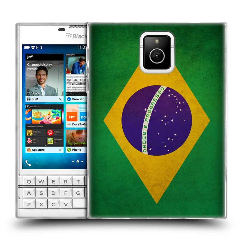 Silikonové pouzdro na mobil Blackberry PASSPORT HEAD CASE VLAJKA BRAZÍLIE (Silikonový kryt či obal na mobilní telefon Blackberry PASSPORT)
