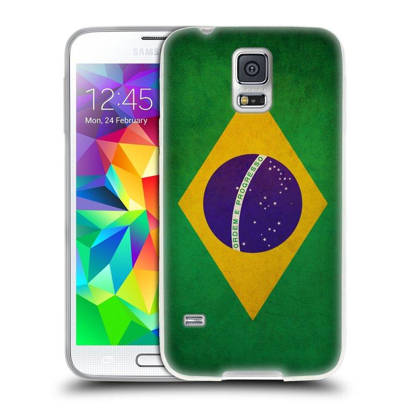 Silikonové pouzdro na mobil Samsung Galaxy S5 HEAD CASE VLAJKA BRAZÍLIE (Silikonový kryt či obal na mobilní telefon Samsung Galaxy S5 SM-G900F)