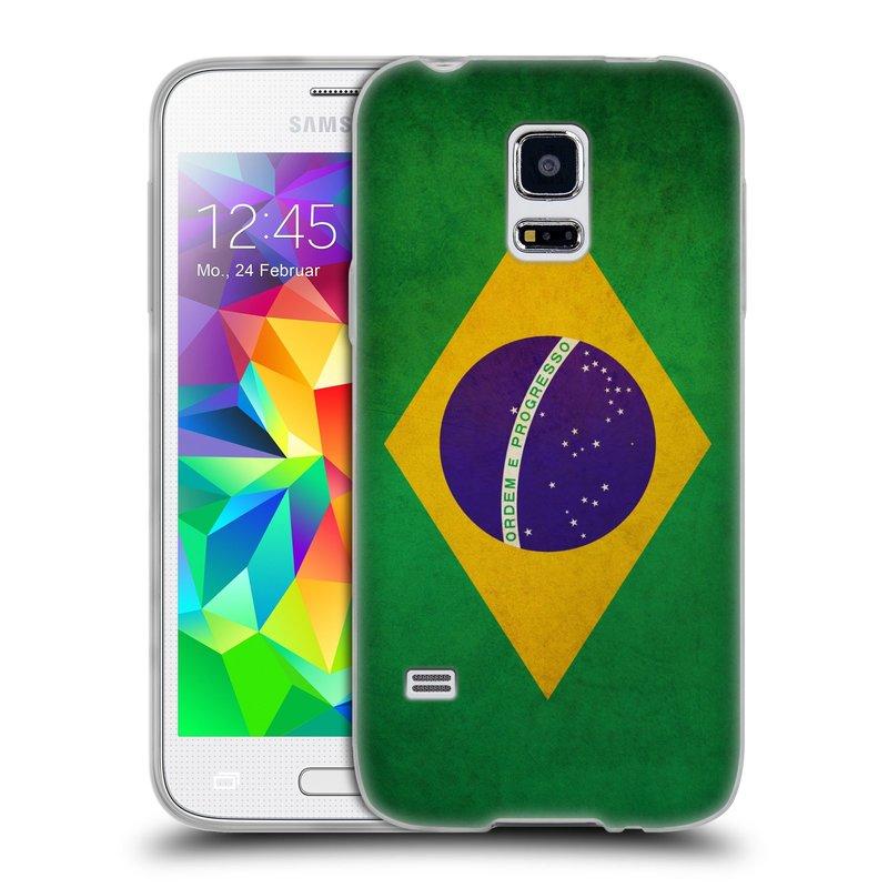 Silikonové pouzdro na mobil Samsung Galaxy S5 Mini HEAD CASE VLAJKA BRAZÍLIE (Silikonový kryt či obal na mobilní telefon Samsung Galaxy S5 Mini SM-G800F)