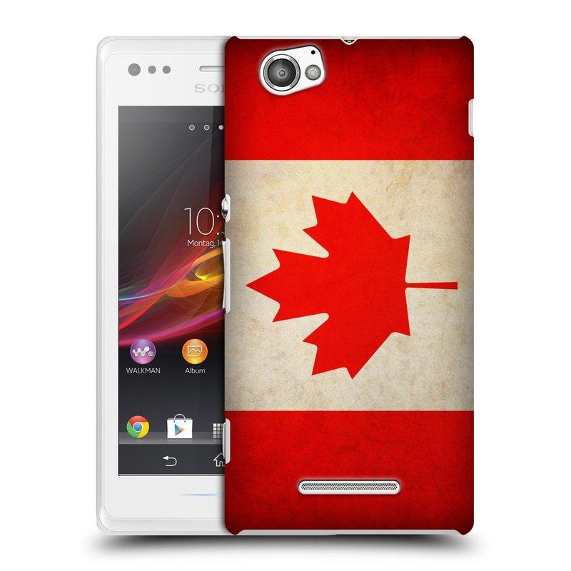 Plastové pouzdro na mobil Sony Xperia M C1905 HEAD CASE VLAJKA KANADA (Kryt či obal na mobilní telefon Sony Xperia M )