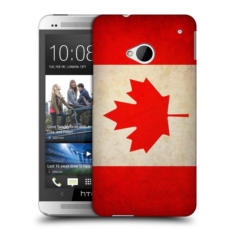 Plastové pouzdro na mobil HTC ONE M7 HEAD CASE VLAJKA KANADA (Kryt či obal na mobilní telefon HTC ONE M7)