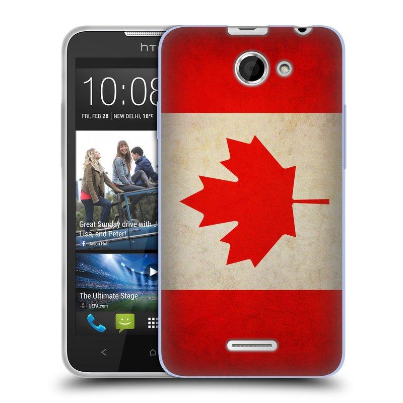 Silikonové pouzdro na mobil HTC Desire 516 HEAD CASE VLAJKA KANADA (Silikonový kryt či obal na mobilní telefon HTC Desire 516 Dual SIM)