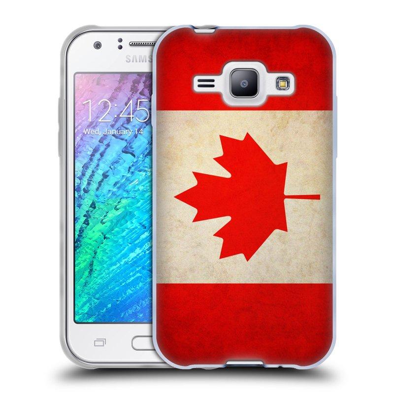 Silikonové pouzdro na mobil Samsung Galaxy J1 HEAD CASE VLAJKA KANADA (Silikonový kryt či obal na mobilní telefon Samsung Galaxy J1 a J1 Duos)
