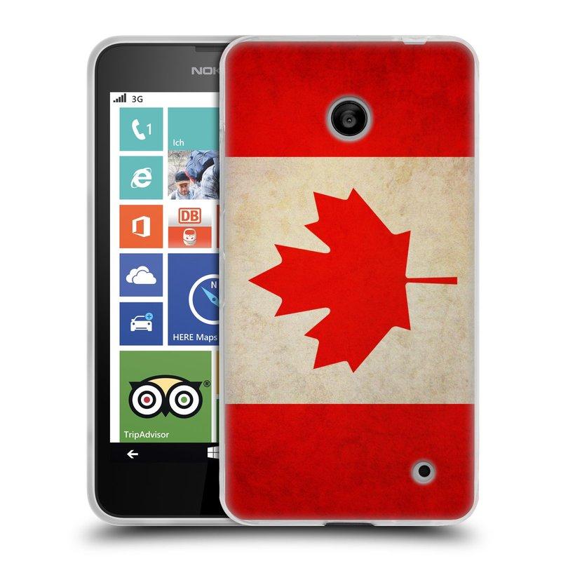 Silikonové pouzdro na mobil Nokia Lumia 630 HEAD CASE VLAJKA KANADA (Silikonový kryt či obal na mobilní telefon Nokia Lumia 630 a Nokia Lumia 630 Dual SIM)