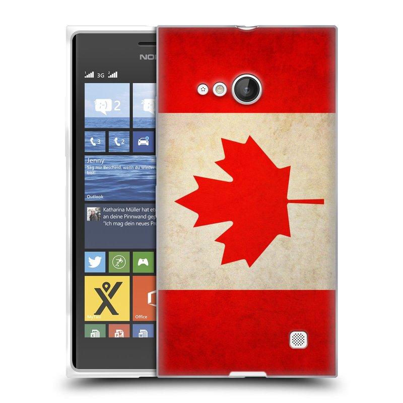 Silikonové pouzdro na mobil Nokia Lumia 730 Dual SIM HEAD CASE VLAJKA KANADA (Silikonový kryt či obal na mobilní telefon Nokia Lumia 730 Dual SIM)