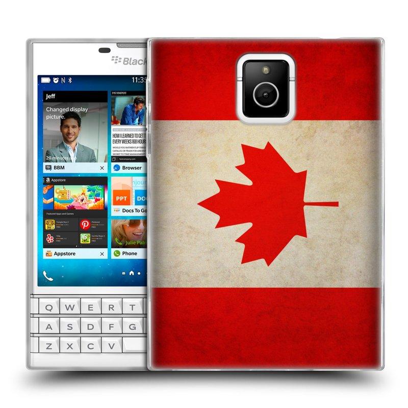 Silikonové pouzdro na mobil Blackberry PASSPORT HEAD CASE VLAJKA KANADA (Silikonový kryt či obal na mobilní telefon Blackberry PASSPORT)