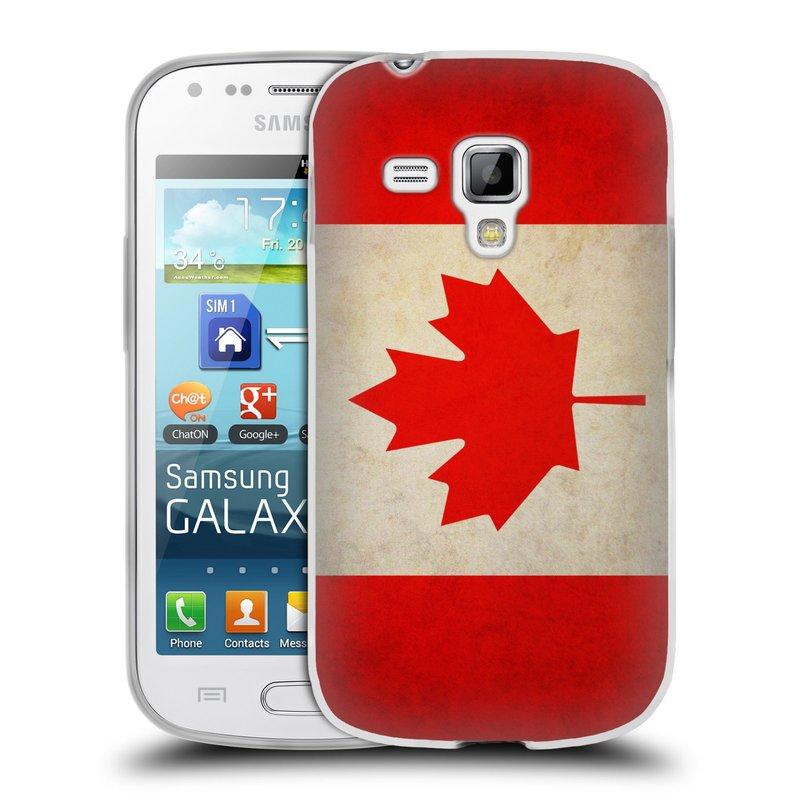 Silikonové pouzdro na mobil Samsung Galaxy S Duos HEAD CASE VLAJKA KANADA (Silikonový kryt či obal na mobilní telefon Samsung Galaxy S Duos GT-S7562)