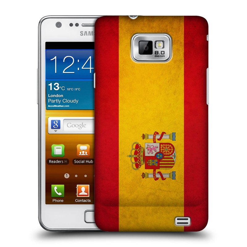 Plastové pouzdro na mobil Samsung Galaxy S II HEAD CASE VLAJKA ŠPANĚLSKO (Kryt či obal na mobilní telefon Samsung Galaxy S II GT-i9100)