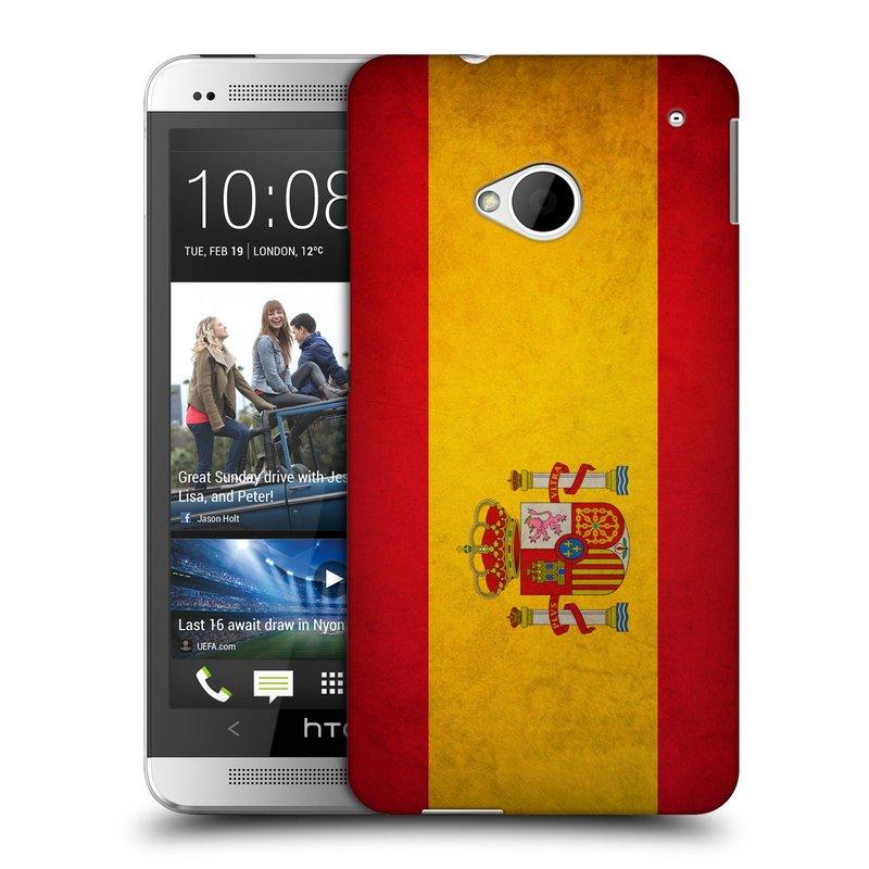 Plastové pouzdro na mobil HTC ONE M7 HEAD CASE VLAJKA ŠPANĚLSKO (Kryt či obal na mobilní telefon HTC ONE M7)
