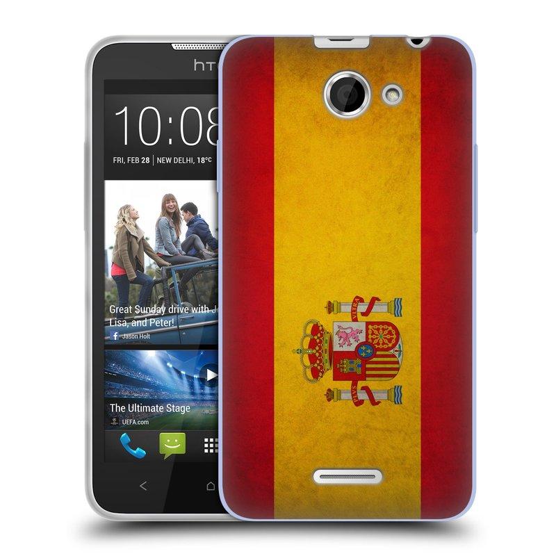 Silikonové pouzdro na mobil HTC Desire 516 HEAD CASE VLAJKA ŠPANĚLSKO (Silikonový kryt či obal na mobilní telefon HTC Desire 516 Dual SIM)