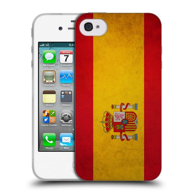 Silikonové pouzdro na mobil Apple iPhone 4 a 4S HEAD CASE VLAJKA ŠPANĚLSKO (Silikonový kryt či obal na mobilní telefon Apple iPhone 4 a 4S)