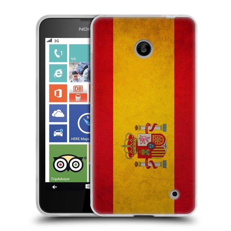 Silikonové pouzdro na mobil Nokia Lumia 630 HEAD CASE VLAJKA ŠPANĚLSKO (Silikonový kryt či obal na mobilní telefon Nokia Lumia 630 a Nokia Lumia 630 Dual SIM)