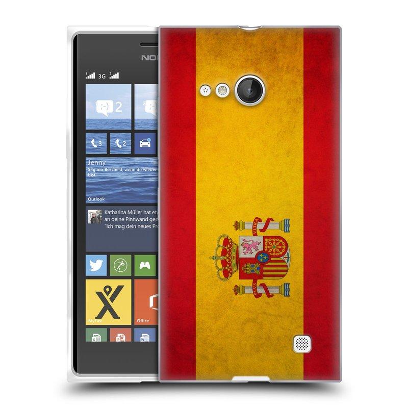 Silikonové pouzdro na mobil Nokia Lumia 730 Dual SIM HEAD CASE VLAJKA ŠPANĚLSKO (Silikonový kryt či obal na mobilní telefon Nokia Lumia 730 Dual SIM)