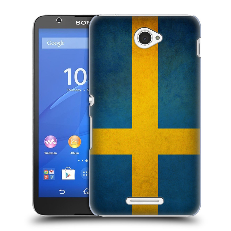 Plastové pouzdro na mobil Sony Xperia E4 E2105 HEAD CASE VLAJKA ŠVÉDSKO (Kryt či obal na mobilní telefon Sony Xperia E4 a E4 Dual SIM)