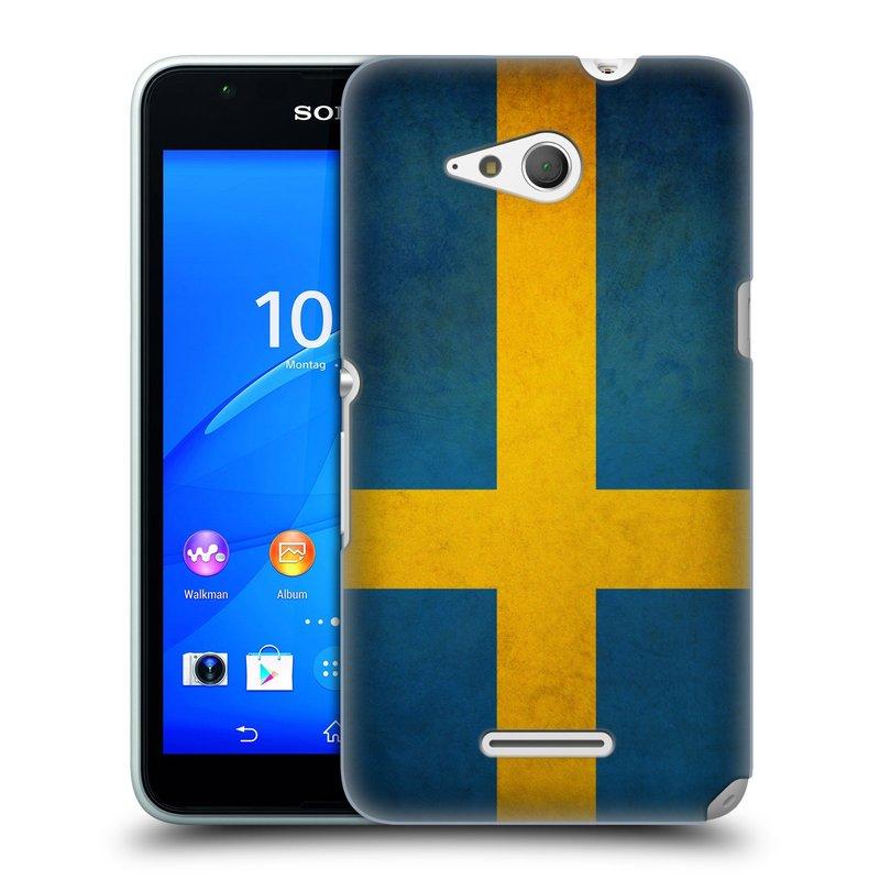 Plastové pouzdro na mobil Sony Xperia E4g E2003 HEAD CASE VLAJKA ŠVÉDSKO (Kryt či obal na mobilní telefon Sony Xperia E4g a E4g Dual SIM)