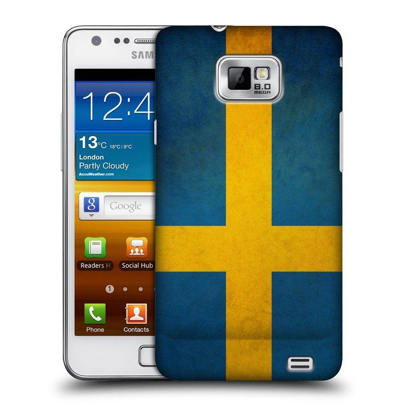 Plastové pouzdro na mobil Samsung Galaxy S II HEAD CASE VLAJKA ŠVÉDSKO (Kryt či obal na mobilní telefon Samsung Galaxy S II GT-i9100)