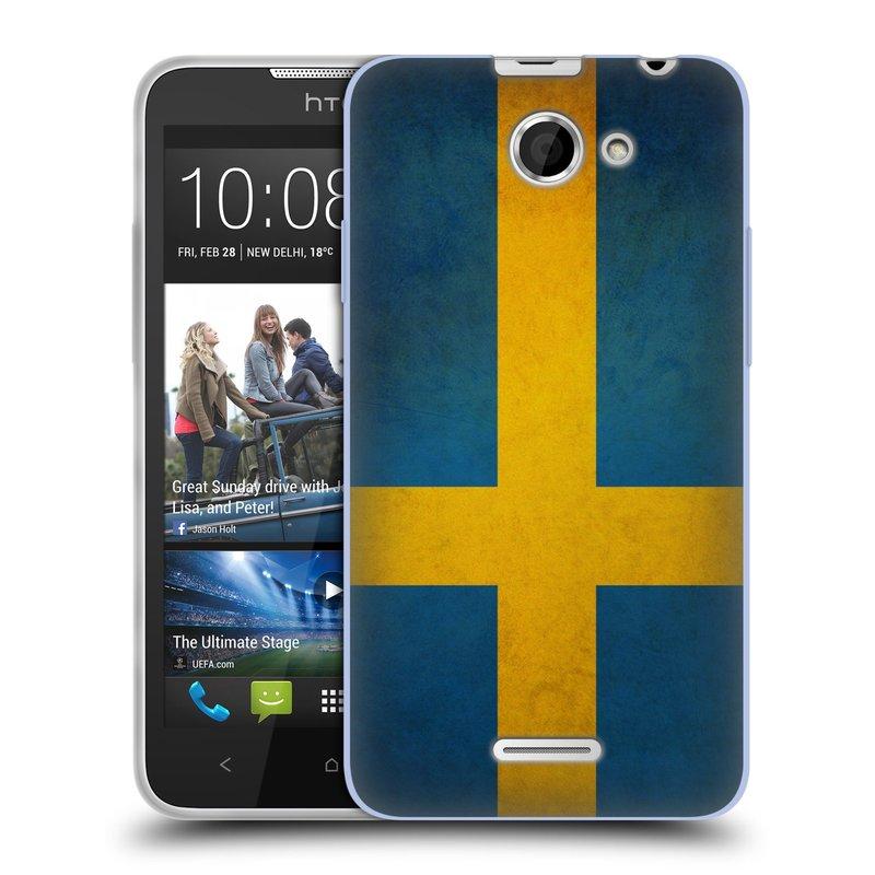 Silikonové pouzdro na mobil HTC Desire 516 HEAD CASE VLAJKA ŠVÉDSKO (Silikonový kryt či obal na mobilní telefon HTC Desire 516 Dual SIM)