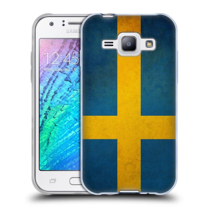 Silikonové pouzdro na mobil Samsung Galaxy J1 HEAD CASE VLAJKA ŠVÉDSKO (Silikonový kryt či obal na mobilní telefon Samsung Galaxy J1 a J1 Duos)
