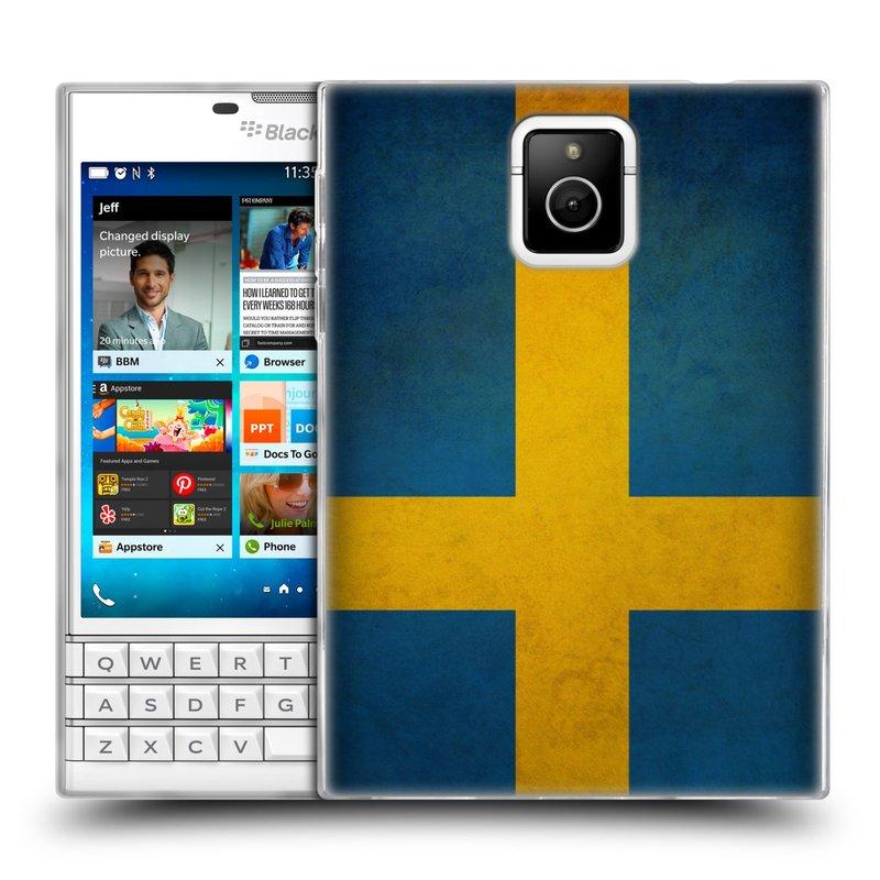Silikonové pouzdro na mobil Blackberry PASSPORT HEAD CASE VLAJKA ŠVÉDSKO (Silikonový kryt či obal na mobilní telefon Blackberry PASSPORT)