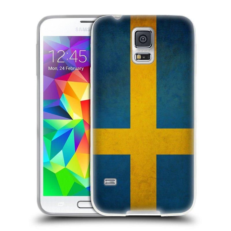 Silikonové pouzdro na mobil Samsung Galaxy S5 HEAD CASE VLAJKA ŠVÉDSKO (Silikonový kryt či obal na mobilní telefon Samsung Galaxy S5 SM-G900F)