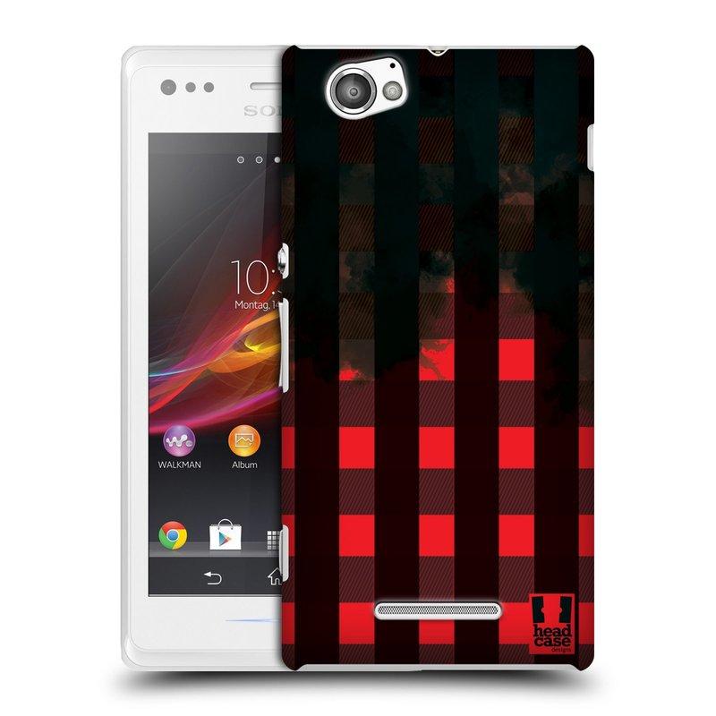 Plastové pouzdro na mobil Sony Xperia M C1905 HEAD CASE FLANEL RED BLACK (Kryt či obal na mobilní telefon Sony Xperia M a M Dual)