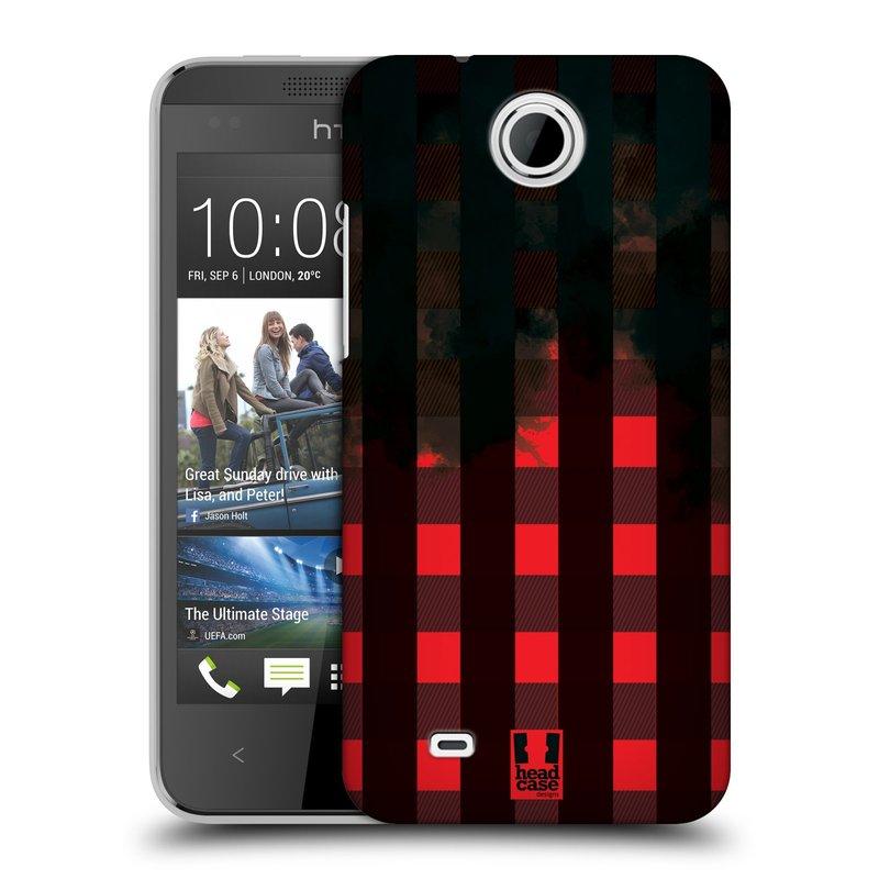 Plastové pouzdro na mobil HTC Desire 300 HEAD CASE FLANEL RED BLACK (Kryt či obal na mobilní telefon HTC Desire 300)