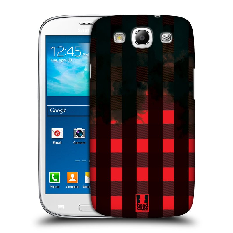 Plastové pouzdro na mobil Samsung Galaxy S III HEAD CASE FLANEL RED BLACK (Kryt či obal na mobilní telefon Samsung Galaxy S III GT-i9300)