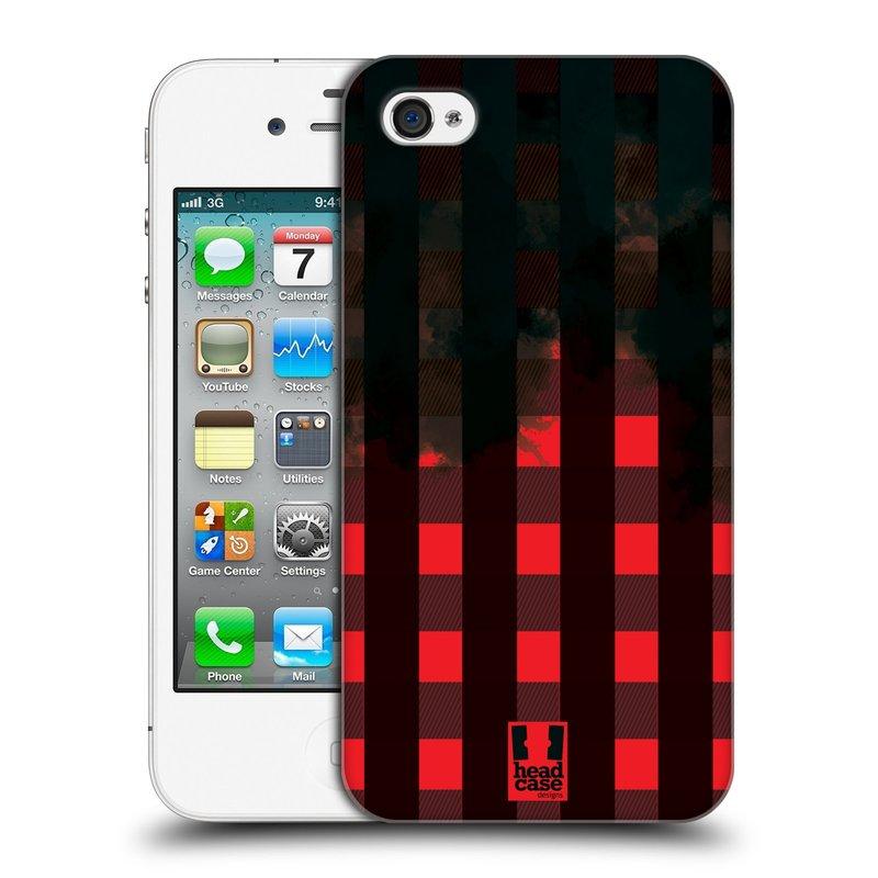 Plastové pouzdro na mobil Apple iPhone 4 a 4S HEAD CASE FLANEL RED BLACK (Kryt či obal na mobilní telefon Apple iPhone 4 a 4S)
