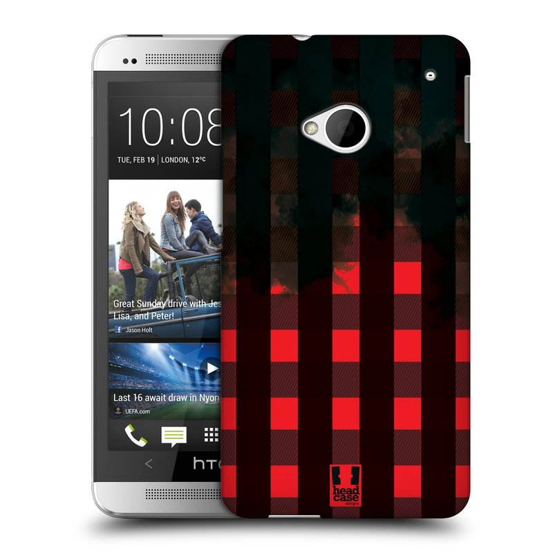 Plastové pouzdro na mobil HTC ONE M7 HEAD CASE FLANEL RED BLACK (Kryt či obal na mobilní telefon HTC ONE M7)
