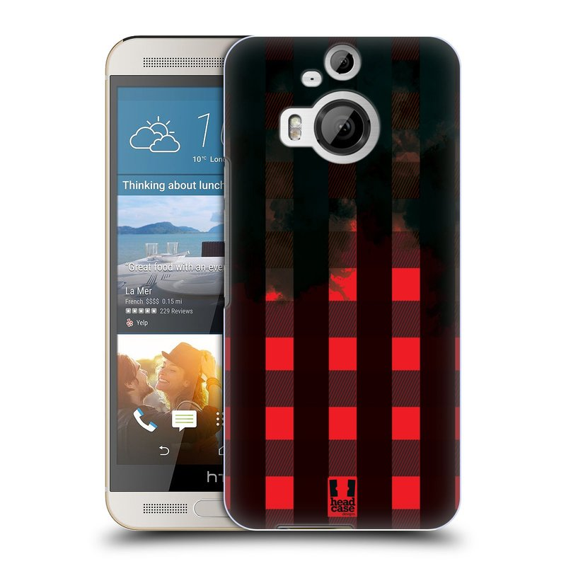 Plastové pouzdro na mobil HTC One M9+ (Plus) HEAD CASE FLANEL RED BLACK (Kryt či obal na mobilní telefon HTC One M9+)