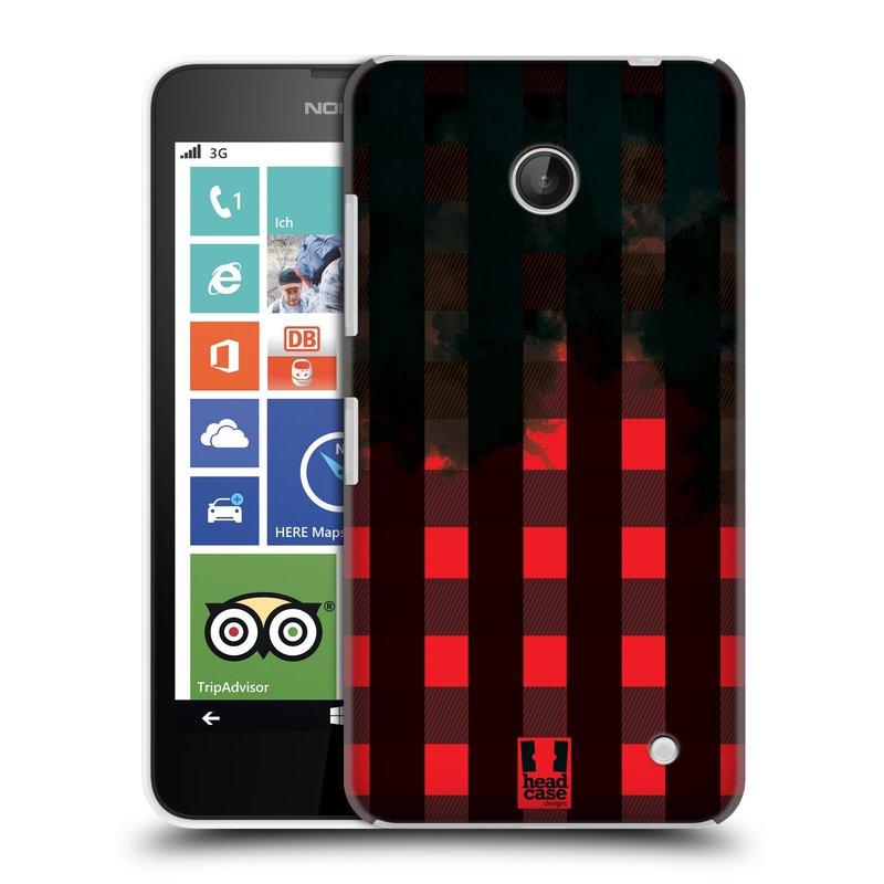 Plastové pouzdro na mobil Nokia Lumia 630 HEAD CASE FLANEL RED BLACK (Kryt či obal na mobilní telefon Nokia Lumia 630 a Nokia Lumia 630 Dual SIM)