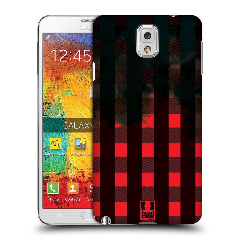 Plastové pouzdro na mobil Samsung Galaxy Note 3 HEAD CASE FLANEL RED BLACK (Kryt či obal na mobilní telefon Samsung Galaxy Note 3 SM-N9005)