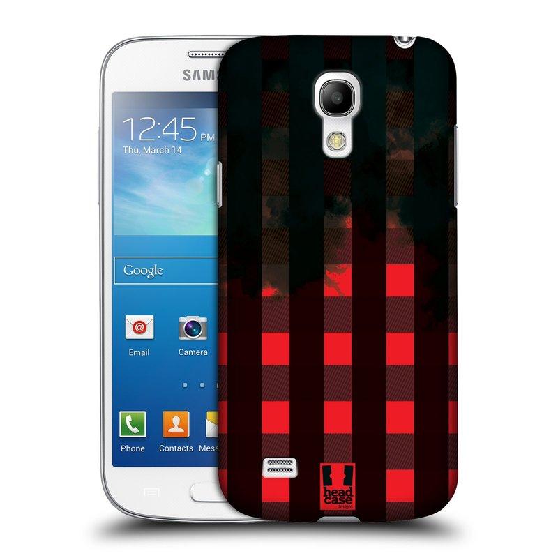 Plastové pouzdro na mobil Samsung Galaxy S4 Mini HEAD CASE FLANEL RED BLACK (Kryt či obal na mobilní telefon Samsung Galaxy S4 Mini GT-i9195 / i9190 (nepasuje na verzi Black Edition))