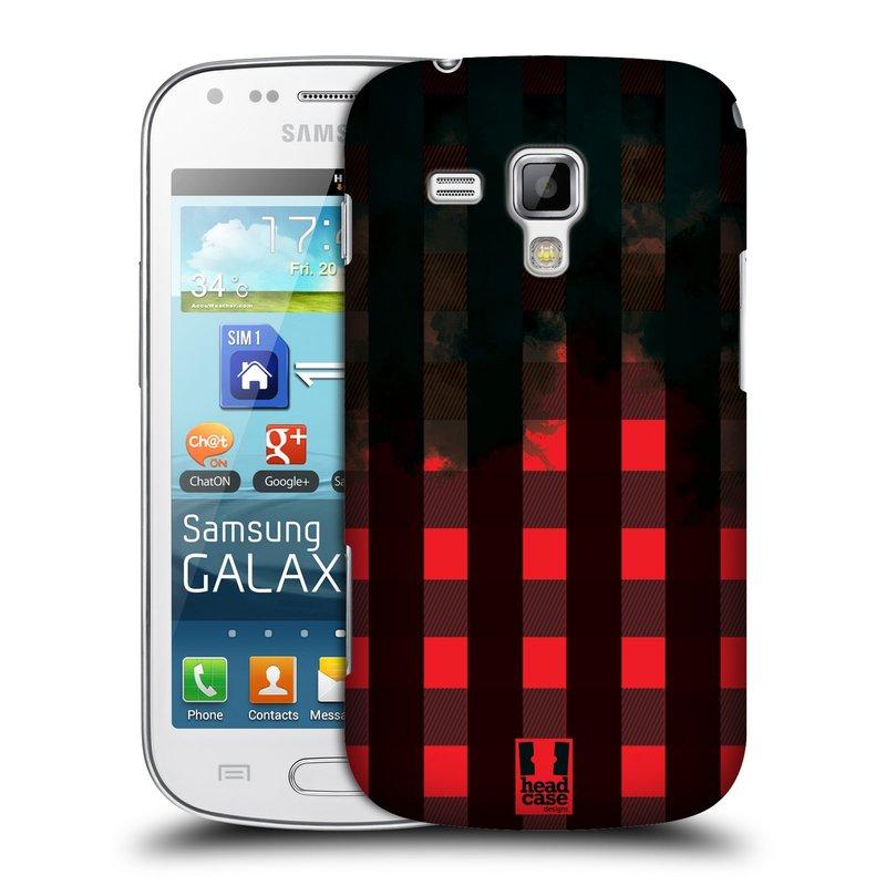Plastové pouzdro na mobil Samsung Galaxy S Duos HEAD CASE FLANEL RED BLACK (Kryt či obal na mobilní telefon Samsung Galaxy S Duos GT-S7562)