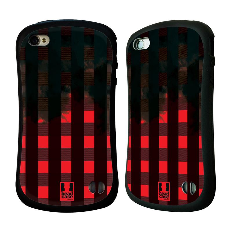 Nárazuvzdorné pouzdro na mobil Apple iPhone 4 a 4S HEAD CASE FLANEL RED BLACK (Odolný nárazuvzdorný silikonový kryt či obal na mobilní telefon Apple iPhone 4 a 4S)