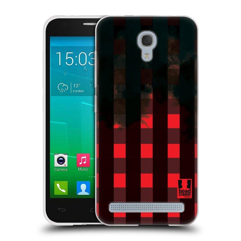 Silikonové pouzdro na mobil Alcatel One Touch Idol 2 Mini S 6036Y HEAD CASE FLANEL RED BLACK (Silikonový kryt či obal na mobilní telefon Alcatel Idol 2 Mini S OT-6036Y)