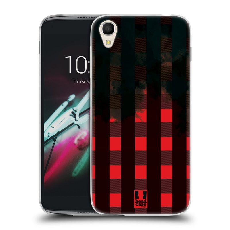 "Silikonové pouzdro na mobil Alcatel One Touch 6039Y Idol 3 HEAD CASE FLANEL RED BLACK (Silikonový kryt či obal na mobilní telefon Alcatel One Touch Idol 3 OT-6039Y s 4,7"" displejem)"