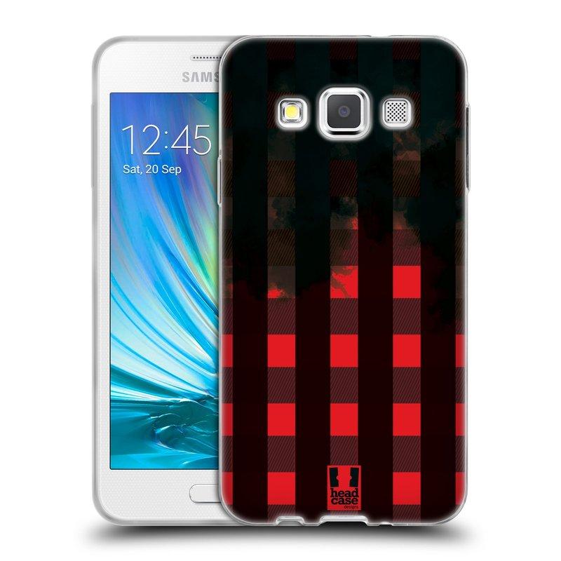 Silikonové pouzdro na mobil Samsung Galaxy A3 HEAD CASE FLANEL RED BLACK (Silikonový kryt či obal na mobilní telefon Samsung Galaxy A3 SM-A300)