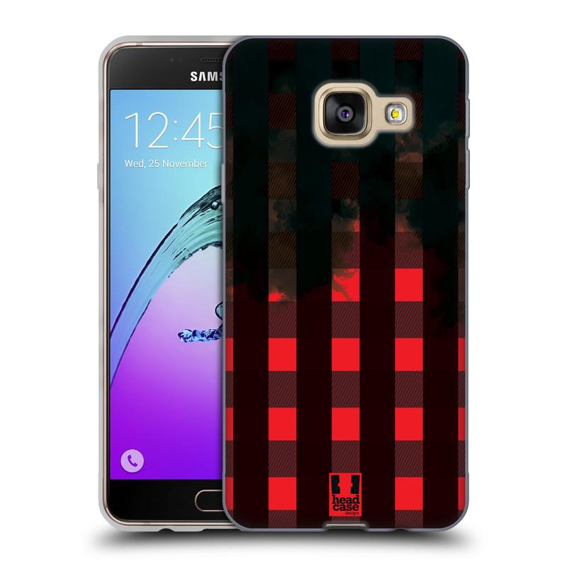 Silikonové pouzdro na mobil Samsung Galaxy A3 (2016) HEAD CASE FLANEL RED BLACK (Silikonový kryt či obal na mobilní telefon Samsung Galaxy A3 (2016) SM-A310F)