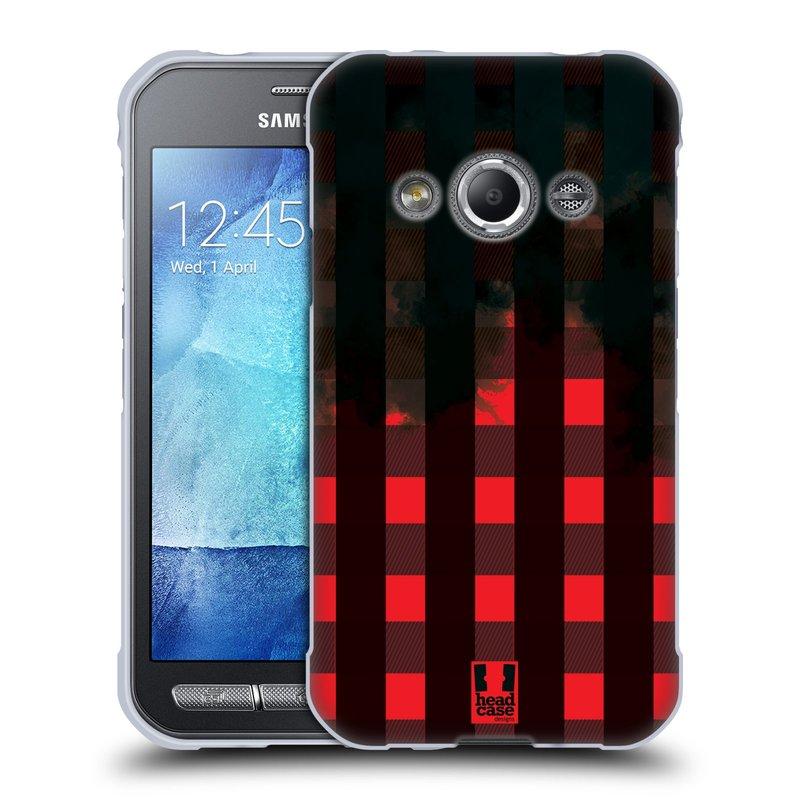 Silikonové pouzdro na mobil Samsung Galaxy Xcover 3 HEAD CASE FLANEL RED BLACK (Silikonový kryt či obal na mobilní telefon Samsung Galaxy Xcover 3 SM-G388F)