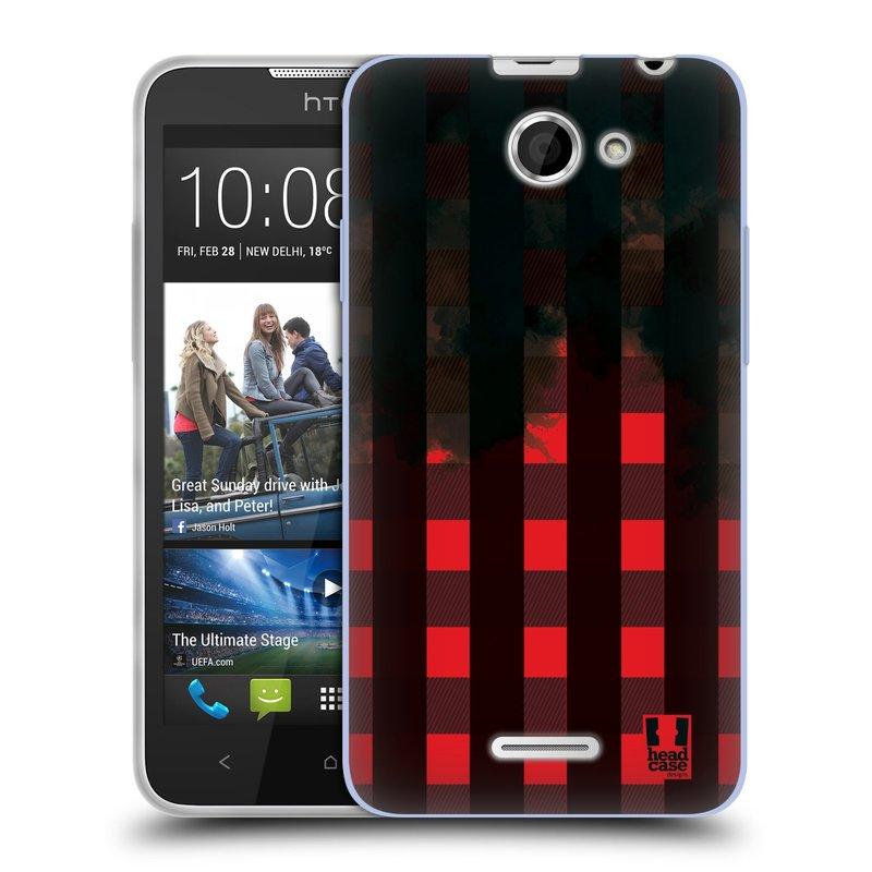 Silikonové pouzdro na mobil HTC Desire 516 HEAD CASE FLANEL RED BLACK (Silikonový kryt či obal na mobilní telefon HTC Desire 516 Dual SIM)