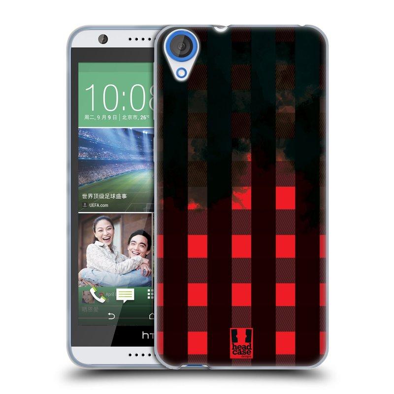 Silikonové pouzdro na mobil HTC Desire 820 HEAD CASE FLANEL RED BLACK (Silikonový kryt či obal na mobilní telefon HTC Desire 820)