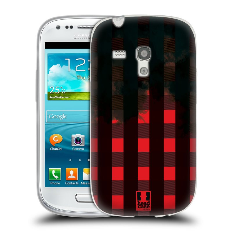 Silikonové pouzdro na mobil Samsung Galaxy S3 Mini VE HEAD CASE FLANEL RED BLACK (Silikonový kryt či obal na mobilní telefon Samsung Galaxy S3 Mini VE GT-i8200)
